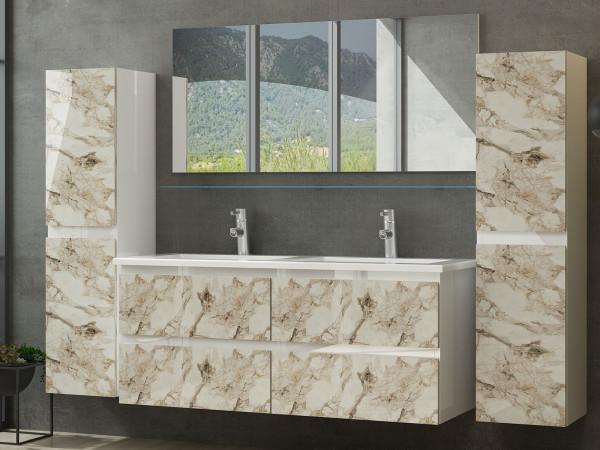 Diana Badezimmermöbel Set Doppelbecken 120 cm 2x Hochschrank Weiss Marmor Optik Hochglanz