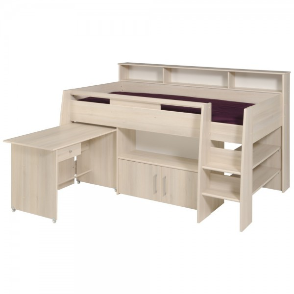 Parisot Charly - Hochbett mit Schreibtisch & Kommode 90 x 200 cm