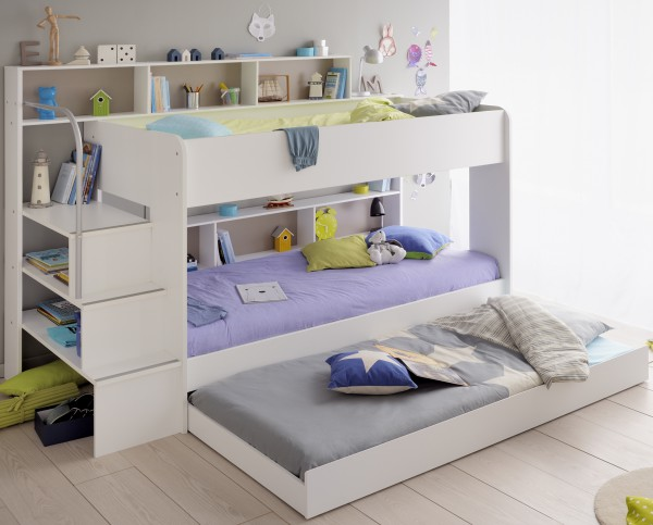 Parisot Bibop - Etagenbett 90 x 200 cm, Dekor Weiss mit Schubkasten als 3. Bett