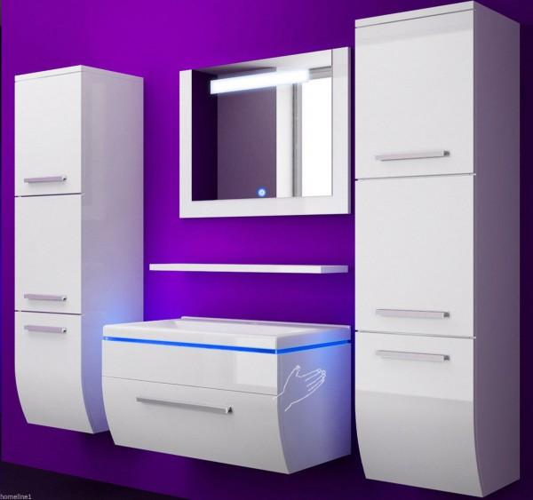 Badmöbel Set Danny 6 Teilig 60 cm Weiss mit zwei Hängeschränken