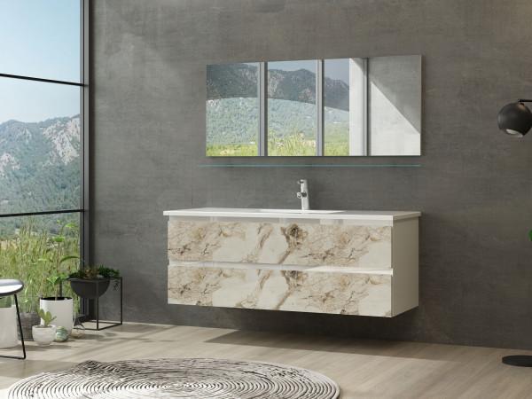 Diana Badezimmermöbel Set 120 cm Einzelbecken Kuru Weiss Marmor Optik Hochglanz ohne Hochschrank