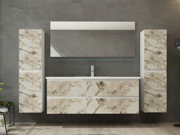Diana Badezimmermöbel Set Einzelbecken 120 cm 2x Hochschrank Weiss Marmor Optik Hochglanz