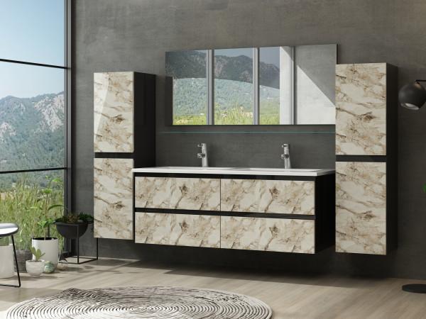 Cobra Badezimmermöbel Set Doppelbecken 120 cm 2x Hochschrank Schwarz/Weiss Marmor Optik Hochglanz