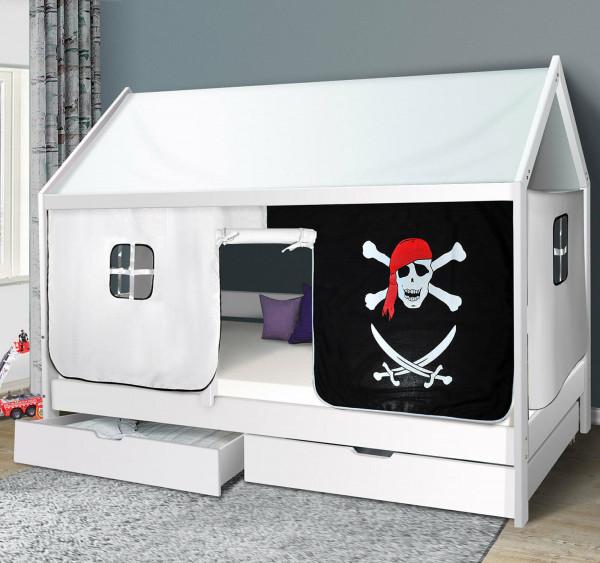 Hausbett Pirat Kinderbett Massiv Hochbett Spielbett Jugendbett 90x200 mit Schublade