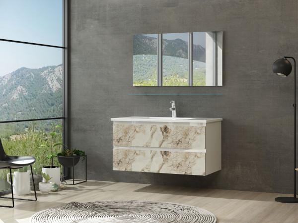 Diana Badmöbel Set 90 cm Kuru Weiss Marmor Optik Hochglanz Badezimmermöbel Bad ohne Hochschränke