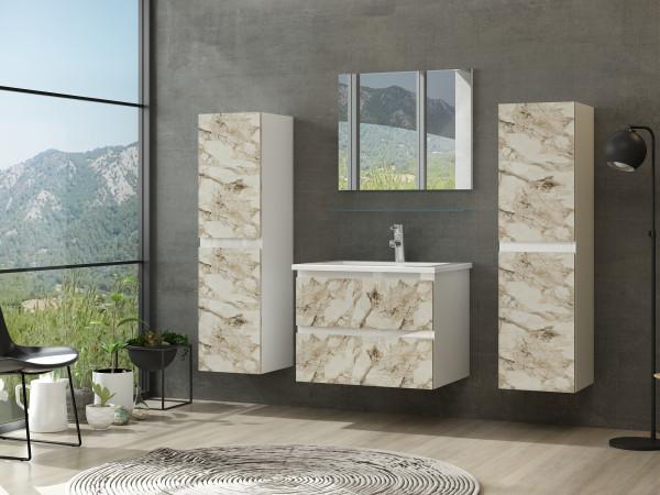 Diana Badmöbel Set 60 cm Kuru Weiss Marmor Optik Hochglanz Badezimmermöbel Bad ohne Hochschränke