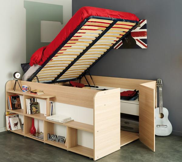 Parisot Space Up Funktionsbett 140 x 200 cm Beige Buche inkl Hydraulik + 2 Roll-Bettkästen + Kleider
